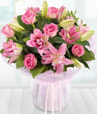 Lavish Pink Rose and Lily**
