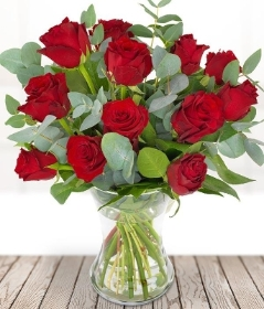 Dozen Red Roses in a vase**