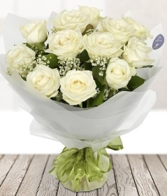 Dozen White Roses in vase**